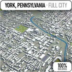 3D model york - pennsylvania surrounding