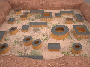 3D model great wall structure soil