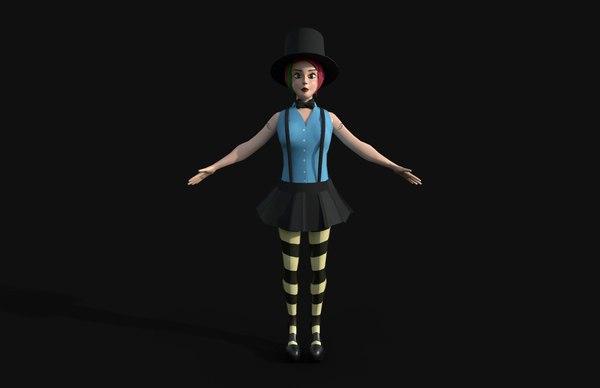 3D cartoon clown juggling girl