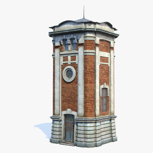 old-style water tower 3D model