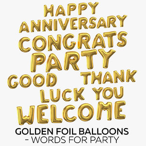 3D golden foil balloons words