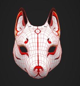 3D japanese mask fox
