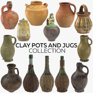 clay pots jugs 3D model