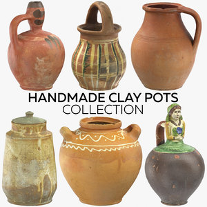 handmade clay pots 3D model