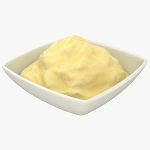 realistic mashed potatoes bowl model