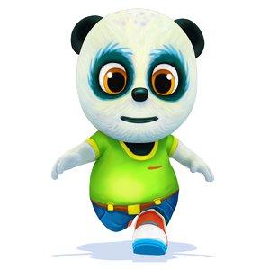 cartoon panda bear animations model