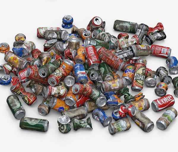 old aluminum cans 3D model