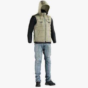 vest pants sneakers 3D model