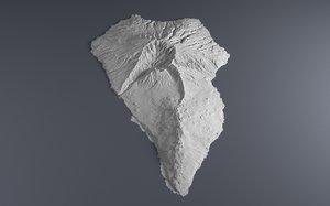 3D elevation island la palma
