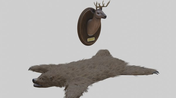 3D taxidermied bear rug deer