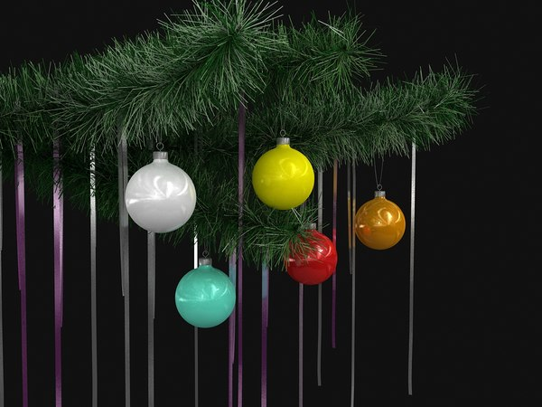 3D model christmas branches