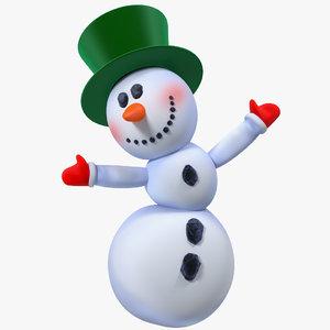 cartoon snowman snow rigged 3D model