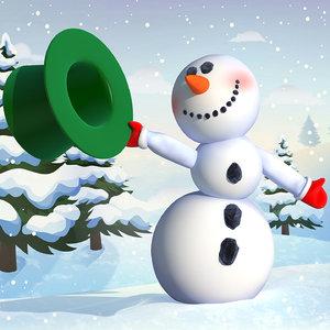 3D cartoon snowman snow rigged model
