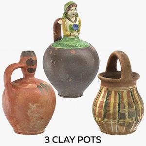 3D model 3 clay pots