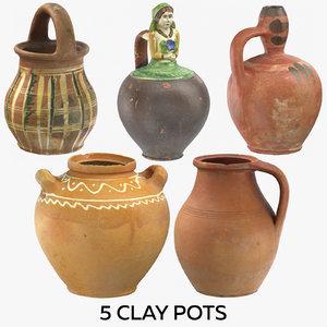 5 clay pots 3D model