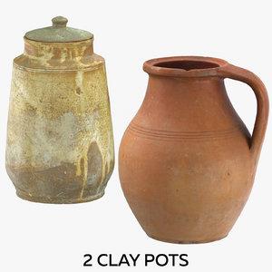 3D 2 clay pots