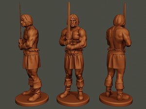 3D male barbarian 2hsword stand