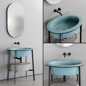 3D model washbasin catino ovale mirror