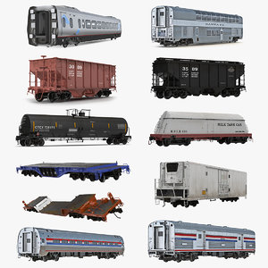railroad wagons 2 3D