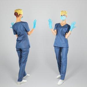3D human young woman uniform
