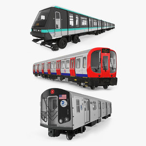 3D subway trains rigged 2