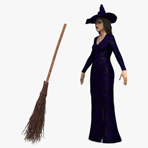 3D witch woman broom model
