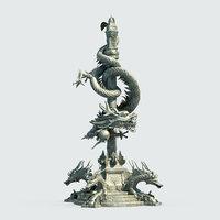 Asian Chinese Dragon Pillar