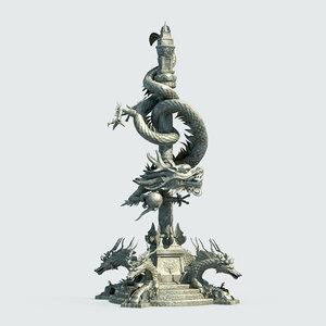 3D chinese dragon pillar
