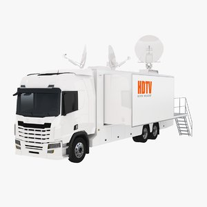 3D model generic broadcast tv truck
