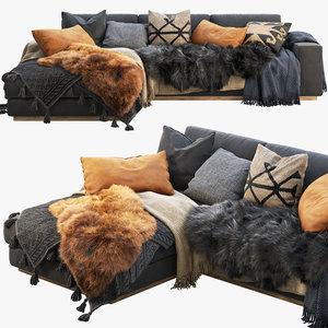 3D roveconcepts noah sectional sofa model
