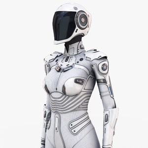 white female cyborg 3D model