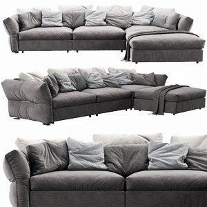 flexform newbridge chaise lounge 3D model