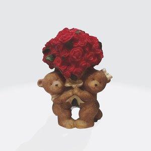 3D bear roses bouquet