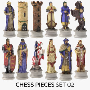 chess pieces set 02 3D model