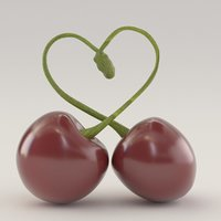 cherries forming heart 3D model