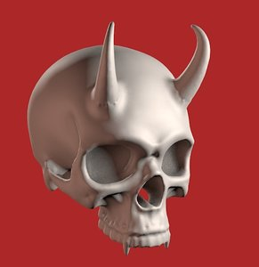 human skull horns 3D model