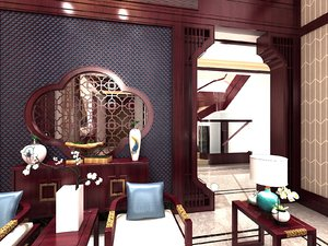 3D living room traditional chinese
