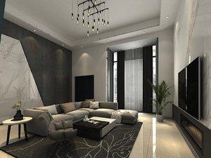 loft living room 3D model