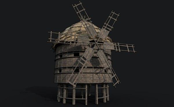 ready fantasy medieval windmill 3D model
