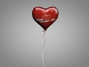 3D saint valentine day balloon model