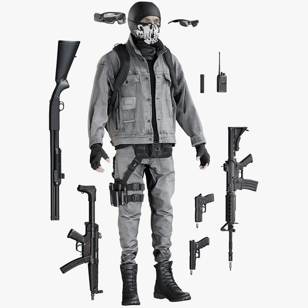 equipment terrorist man 3D model