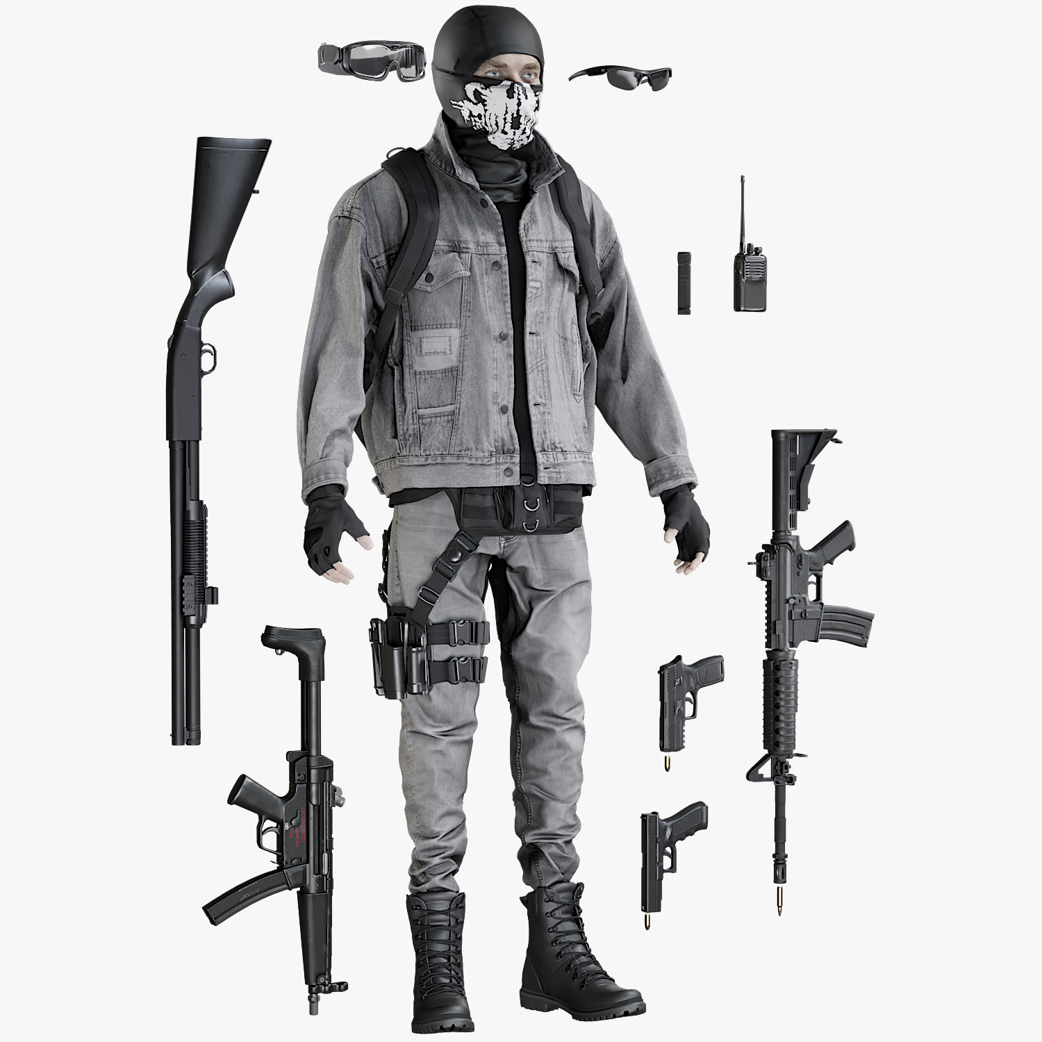equipment terrorist man 3D model