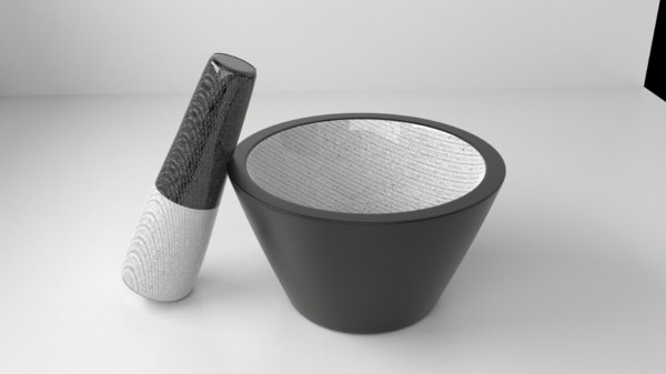 ceramic mortar pestle 12 3D
