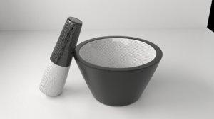 ceramic mortar pestle 12 3D