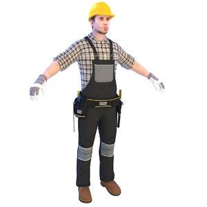 worker man helmet 3D