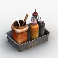 chinese sauce bottle condiment 3D model