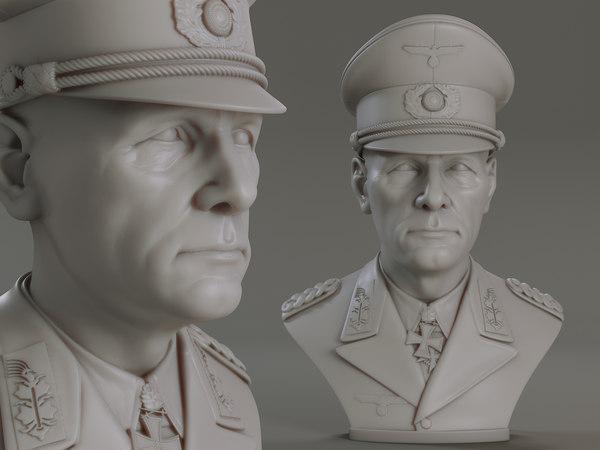 3D erwin rommel bust