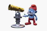 Papa Smurf with Telescope
