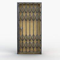 door iron gate rigged 3D model