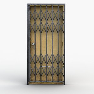 door iron gate rigged 3D model